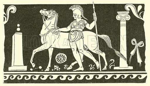 Italian warrior. Illustration for Illustrations of School Classics arranged and described by GF Hill (Macmillan, 1903).