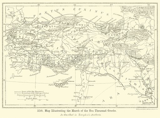 Map illustrating the March of the Ten Thousand Greeks. Illustration for Illustrations of School Classics arranged and described by GF Hill (Macmillan, 1903).