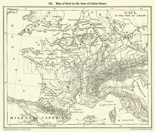 Map of Gaul in the time of Julius Caesar. Illustration for Illustrations of School Classics arranged and described by GF Hill (Macmillan, 1903).