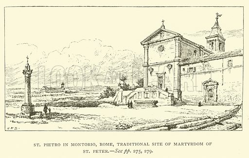 St Pietro in Montorio, Rome, traditional site of Martyrdom of St Peter. Illustration for St Ignatius Loyola and the early Jesuits by Stewart Rose (Burns and Oates, 1891).