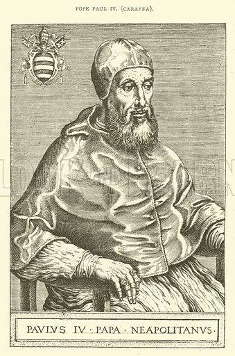 Pope Paul IV, Caraffa. Illustration for St Ignatius Loyola and the early Jesuits by Stewart Rose (Burns and Oates, 1891).