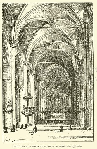 Church of Sta Maria Sopra Minerva, Rome. Illustration for St Ignatius Loyola and the early Jesuits by Stewart Rose (Burns and Oates, 1891).
