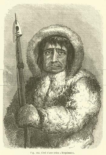 Chef d'une tribu d'Esquimaux. Illustration for Les Races Humaines by Louis Figuier (Hachette, 1872).
