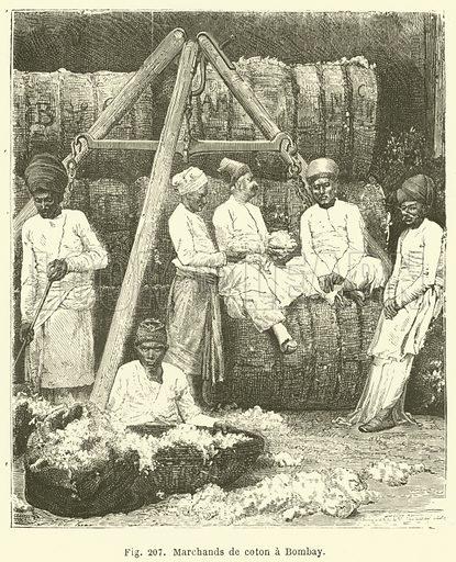 Marchands de coton a Bombay. Illustration for Les Races Humaines by Louis Figuier (Hachette, 1872).