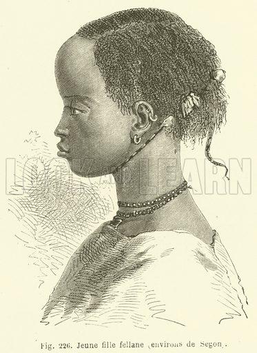 Jeune fille fellane, environs de Segon. Illustration for Les Races Humaines by Louis Figuier (Hachette, 1872).