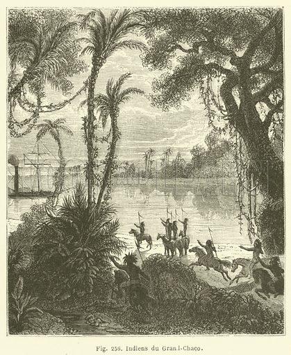 Indiens du Grand-Chaco. Illustration for Les Races Humaines by Louis Figuier (Hachette, 1872).