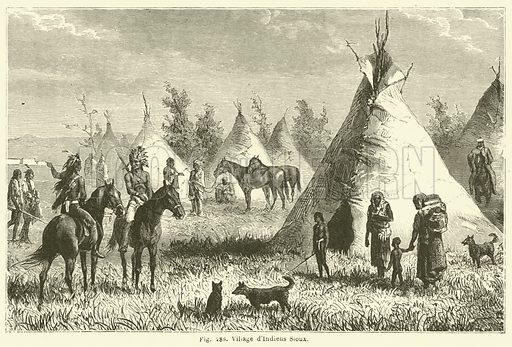 Village d'Indiens Sioux. Illustration for Les Races Humaines by Louis Figuier (Hachette, 1872).