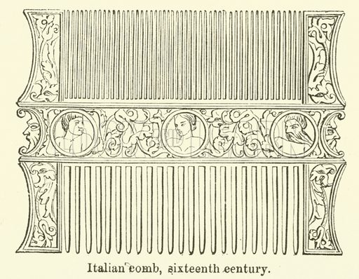 Italian comb, sixteenth century. Illustration for The Industrial Arts published for the Board of Education (Chapman and Hall, c 1890).