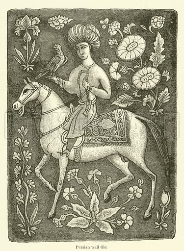 Persian wall tile. Illustration for The Industrial Arts published for the Board of Education (Chapman and Hall, c 1890).