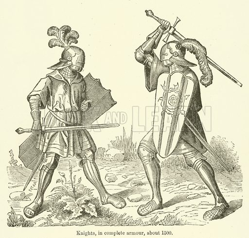 Knights, in complete armour, about 1500. Illustration for The Industrial Arts published for the Board of Education (Chapman and Hall, c 1890).