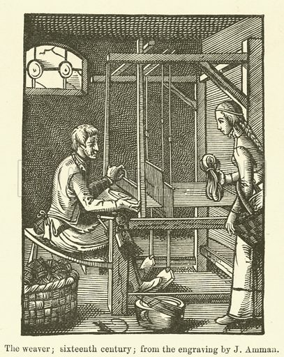 The weaver, sixteenth century, from the engraving by J Amman. Illustration for The Industrial Arts published for the Board of Education (Chapman and Hall, c 1890).