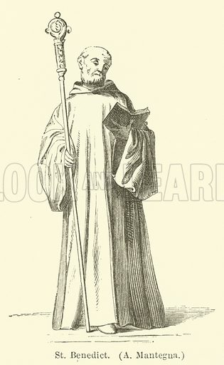 St Benedict, A Mantegna. Illustration for Legends of the Monastic Orders as represented in the Fine Arts by Mrs Jameson (6th edn, Longmans, 1880).