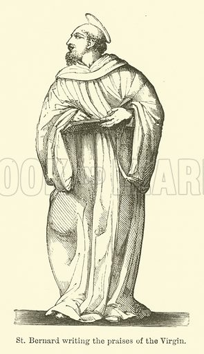 St Bernard writing the praises of the Virgin. Illustration for Legends of the Monastic Orders as represented in the Fine Arts by Mrs Jameson (6th edn, Longmans, 1880).