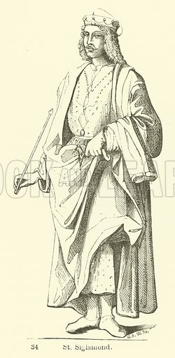 St Sigismond. Illustration for Legends of the Monastic Orders as represented in the Fine Arts by Mrs Jameson (6th edn, Longmans, 1880).