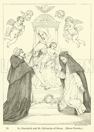 St Dominick and St Catherine of Siena, Sasso Ferrato. Illustration for Legends of the Monastic Orders as represented in the Fine Arts by Mrs Jameson (6th edn, Longmans, 1880).