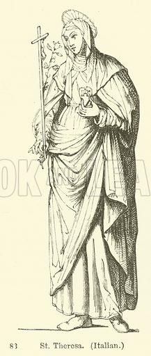 St Theresa, Italian. Illustration for Legends of the Monastic Orders as represented in the Fine Arts by Mrs Jameson (6th edn, Longmans, 1880).