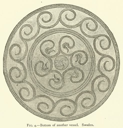 Bottom of another vessel, Sweden. Illustration for The Industrial Arts of Scandinavia in the Pagan Age by Hans Hildebrand (Chapman and Hall, 1892).