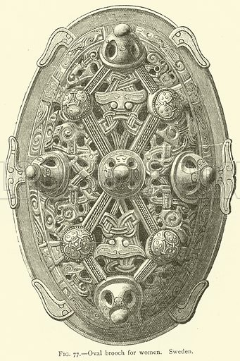 Oval brooch for women, Sweden. Illustration for The Industrial Arts of Scandinavia in the Pagan Age by Hans Hildebrand (Chapman and Hall, 1892).