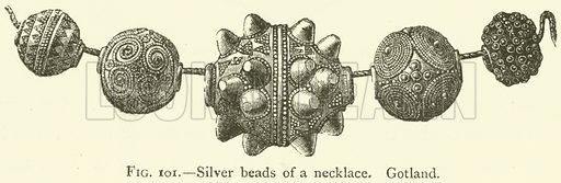 Silver beads of a necklace, Gotland. Illustration for The Industrial Arts of Scandinavia in the Pagan Age by Hans Hildebrand (Chapman and Hall, 1892).