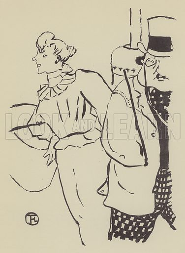 Le Petit Trottin. Illustration for Lithographs by Henri de Toulouse-Lautrec (De La More Press, 1942).