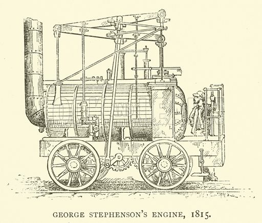 George Stephenson's engine, 1815. Illustration for The Triumphs of Steam by Henry Frith (Griffith Farran, 1892).