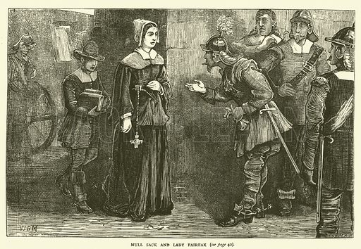 Mull Sack and Lady Fairfax. Illustration for Old and New London with numerous engravings from the most authentic sources by Walter Thornbury (Cassell, c 1890).