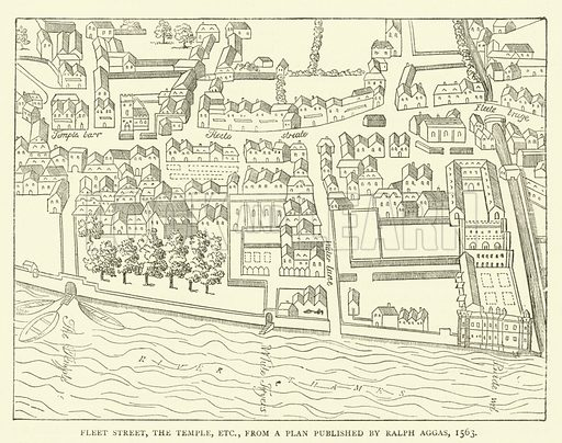 Fleet Street, the Temple, etc. from a plan published by Ralph Aggas, 1563. Illustration for Old and New London with numerous engravings from the most authentic sources by Walter Thornbury (Cassell, c 1890).