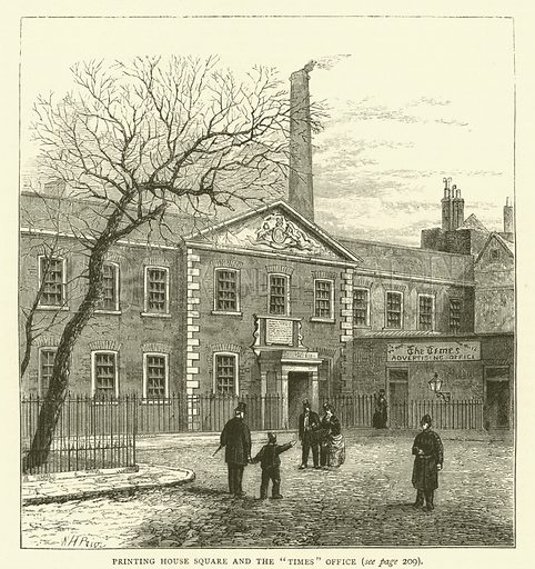 """Printing House Square and the """"Times"""" Office. Illustration for Old and New London with numerous engravings from the most authentic sources by Walter Thornbury (Cassell, c 1890)."""