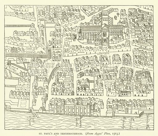 St Paul's and neighbourhood, from Aggas' plan, 1563. Illustration for Old and New London with numerous engravings from the most authentic sources by Walter Thornbury (Cassell, c 1890).