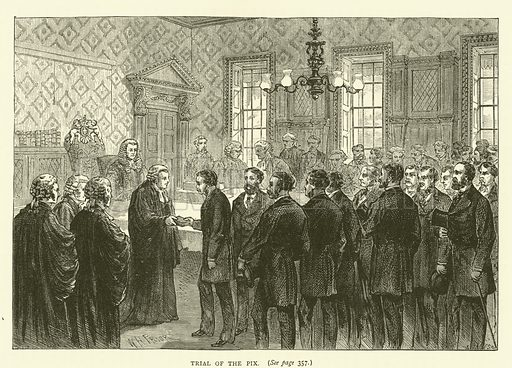 Trial of the Pix. Illustration for Old and New London with numerous engravings from the most authentic sources by Walter Thornbury (Cassell, c 1890).