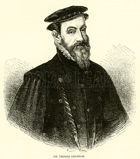 Sir Thomas Gresham. Illustration for Old and New London with numerous engravings from the most authentic sources by Walter Thornbury (Cassell, c 1890).