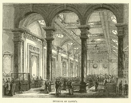 Interior of Lloyd's. Illustration for Old and New London with numerous engravings from the most authentic sources by Walter Thornbury (Cassell, c 1890).