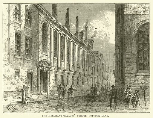 The Merchant Taylors' School, Suffolk Lane. Illustration for Old and New London with numerous engravings from the most authentic sources by Walter Thornbury (Cassell, c 1890).