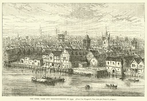 The Steel Yard and neighbourhood in 1540, from Van Wyngard's Plan, taken for Philip II of Spain. Illustration for Old and New London with numerous engravings from the most authentic sources by Walter Thornbury (Cassell, c 1890).