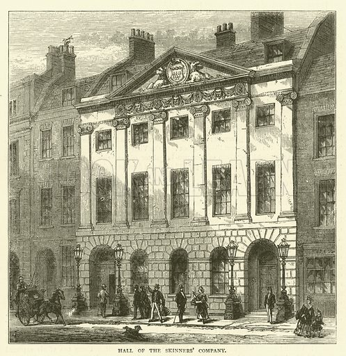 Hall of the Skinners' Company. Illustration for Old and New London with numerous engravings from the most authentic sources by Walter Thornbury (Cassell, c 1890).