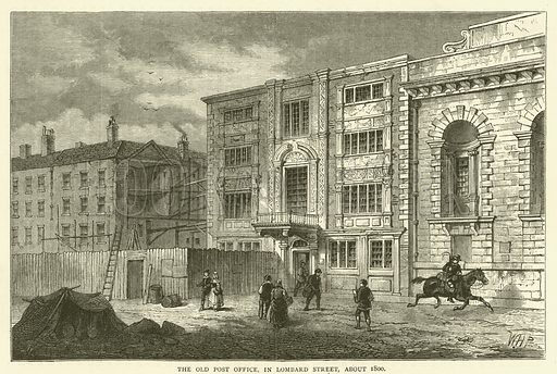 The Old Post Office, in Lombard Street, about 1800. Illustration for Old and New London with numerous engravings from the most authentic sources by Walter Thornbury (Cassell, c 1890).