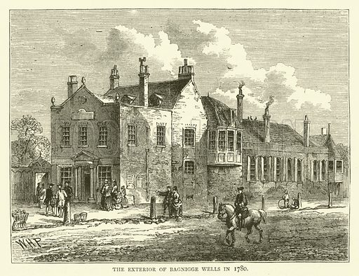 The exterior of Bagnigge Wells in 1780. Illustration for Old and New London with numerous engravings from the most authentic sources by Walter Thornbury (Cassell, c 1890).