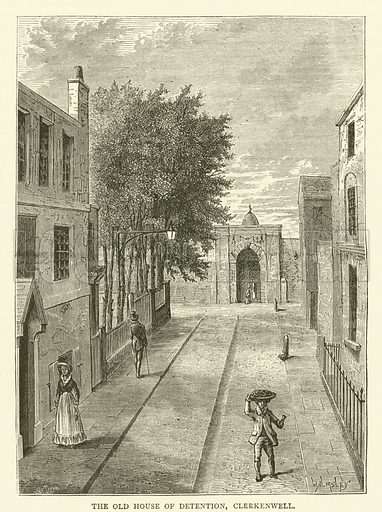 The Old House of Detention, Clerkenwell. Illustration for Old and New London with numerous engravings from the most authentic sources by Walter Thornbury (Cassell, c 1890).