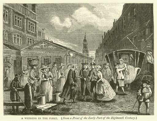 A wedding in the Fleet, from a print of the early part of the eighteenth century. Illustration for Old and New London with numerous engravings from the most authentic sources by Walter Thornbury (Cassell, c 1890).