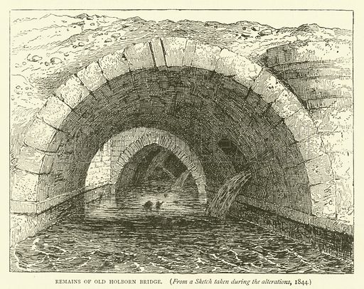Remains of Old Holborn Bridge, from a sketch taken during the alterations, 1844. Illustration for Old and New London with numerous engravings from the most authentic sources by Walter Thornbury (Cassell, c 1890).