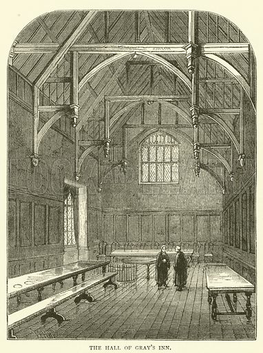 The Hall of Gray's Inn. Illustration for Old and New London with numerous engravings from the most authentic sources by Walter Thornbury (Cassell, c 1890).