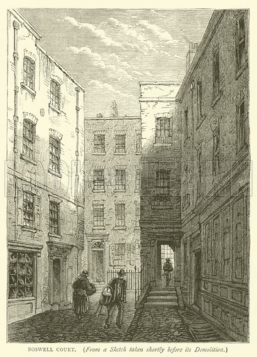 Boswell Court, from a sketch taken shortly before its demolition. Illustration for Old and New London with numerous engravings from the most authentic sources by Walter Thornbury (Cassell, c 1890).