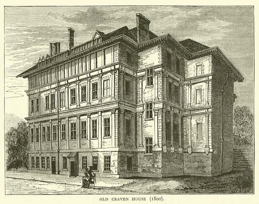 Old Craven House, 1800. Illustration for Old and New London with numerous engravings from the most authentic sources by Walter Thornbury (Cassell, c 1890).