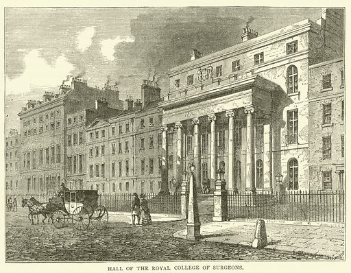 Hall of the Royal College of Surgeons. Illustration for Old and New London with numerous engravings from the most authentic sources by Walter Thornbury (Cassell, c 1890).