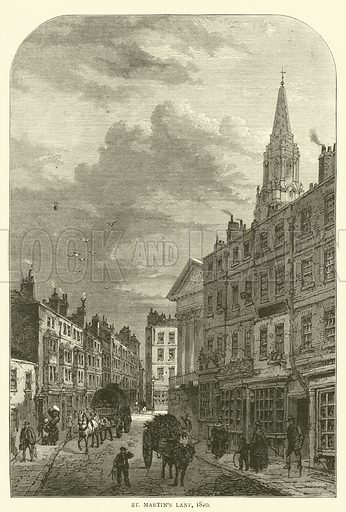 St Martin's Lane, 1820. Illustration for Old and New London with numerous engravings from the most authentic sources by Walter Thornbury (Cassell, c 1890).