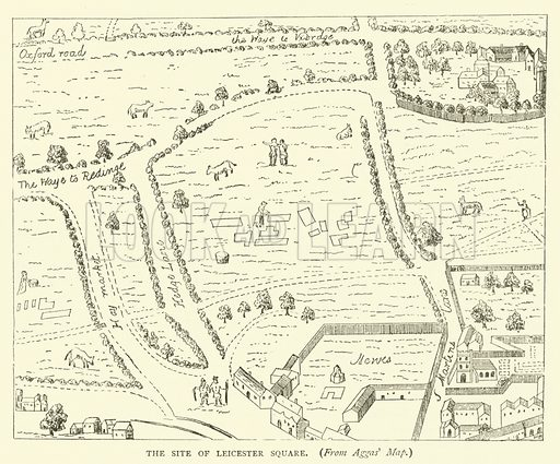 The site of Leicester Square, from Aggas' map. Illustration for Old and New London with numerous engravings from the most authentic sources by Walter Thornbury (Cassell, c 1890).