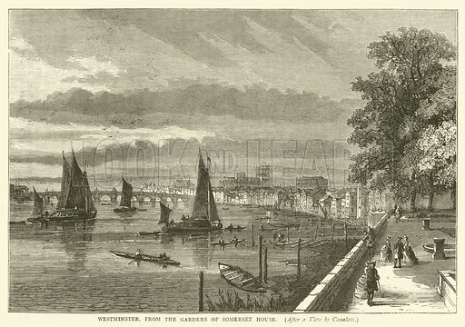 Westminster, from the Gardens of Somerset House, after a view by Canaletti. Illustration for Old and New London with numerous engravings from the most authentic sources by Walter Thornbury (Cassell, c 1890).