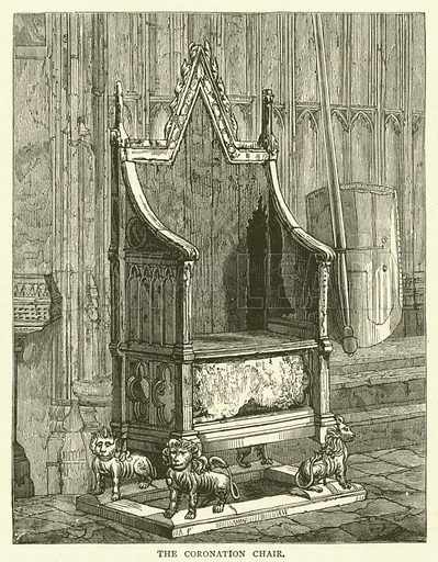 The Coronation Chair. Illustration for Old and New London with numerous engravings from the most authentic sources by Walter Thornbury (Cassell, c 1890).