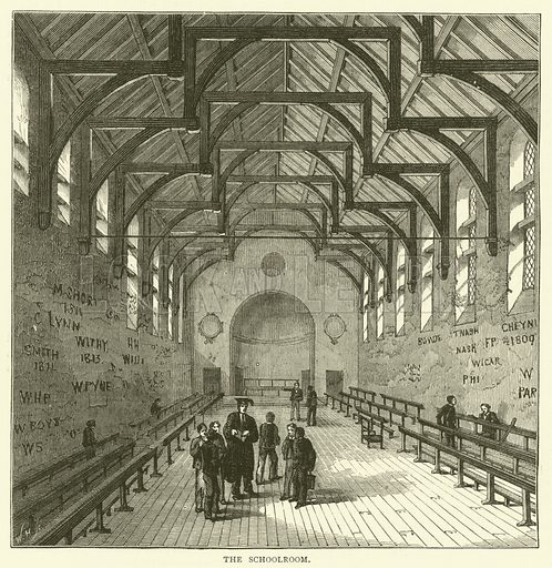 The Schoolroom. Illustration for Old and New London with numerous engravings from the most authentic sources by Walter Thornbury (Cassell, c 1890).