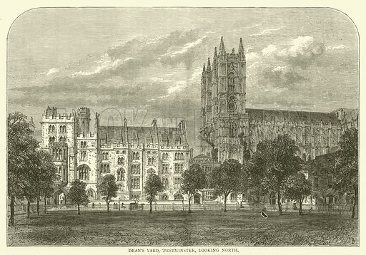 Dean's Yard, Westminster, looking north. Illustration for Old and New London with numerous engravings from the most authentic sources by Walter Thornbury (Cassell, c 1890).
